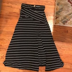 Anthropologie black and white striped maxi skirt